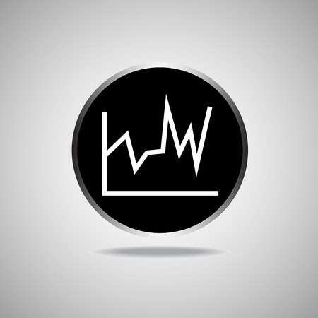 Graph Icon on round black background. Vector illustration.