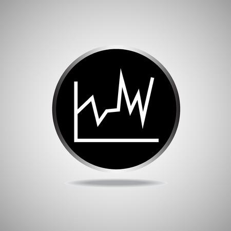 Graph Symbol auf runde schwarzen Hintergrund. Vektor-Illustration. Illustration