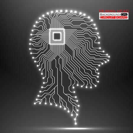 Neon human head. Cpu. Circuit board.