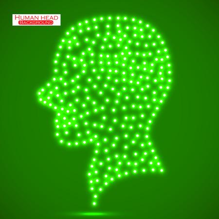 electronical: Neon human head. Vector illustration. Eps 10