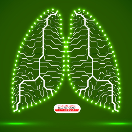 human lung: Neon human lung. Circuit board. Vector illustration. Eps 10