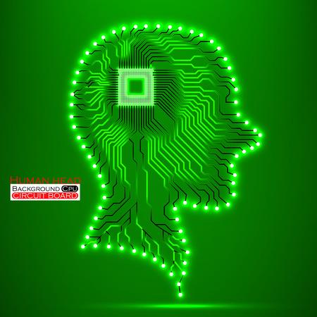 Neon human head. Cpu. Circuit board. Vector illustration. Eps 10 Vector