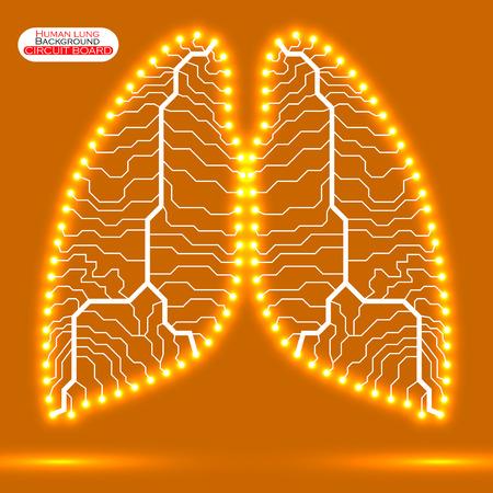 poumon humain: N�on poumon humain. Circuit board. Vector illustration. EPS 10 Illustration