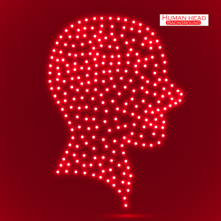 human head: Neon human head. Vector illustration. Eps 10