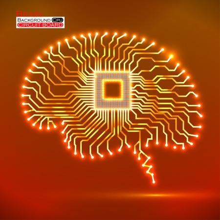 Neon brain. Cpu. Circuit board. Vector illustration. Eps 10 Vector