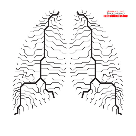 poumon humain: Poumon humain. Circuit board. Vector illustration. EPS 10