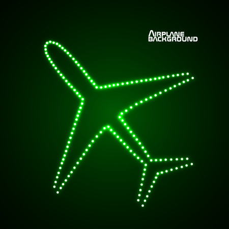 air liner: Glowing airplane with neon Illustration