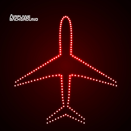 air liner: Glowing  airplane with neon.