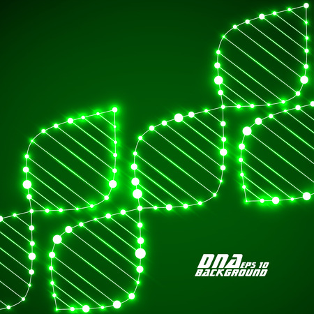 Neon DNA-Spirale. Abstract background. Illustration
