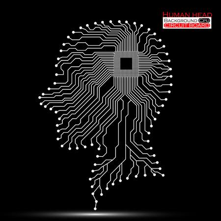 electronical: Human head. Cpu. Circuit board.