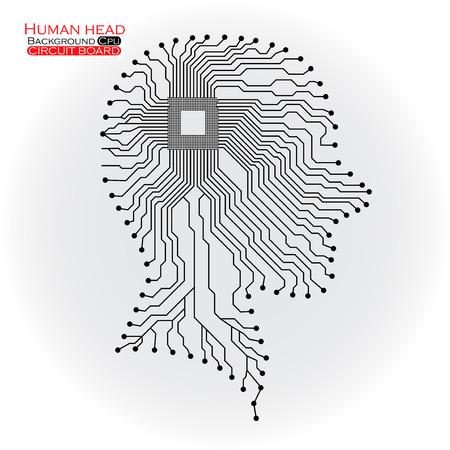 人間の頭。Cpu。回路基板です。  イラスト・ベクター素材