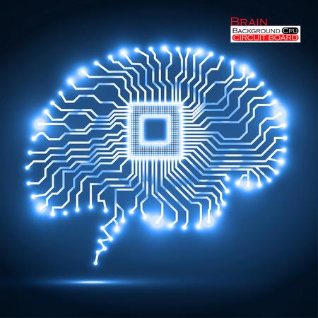 Neon brain. Cpu. Circuit board.