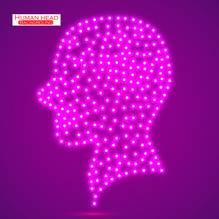 electronical: Neon human head.  Illustration