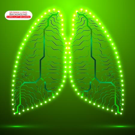 human lung: Neon human lung. Circuit board. Vector illustration. Eps 10