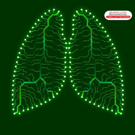 poumon humain: N�on poumon humain. Circuit board. Vector illustration. Illustration