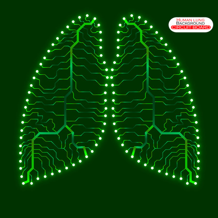 human lung: Neon human lung. Circuit board. Vector illustration.