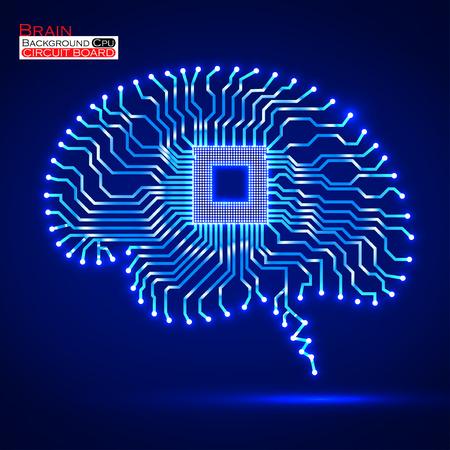 Neon brain. Cpu. Circuit board. Vector illustration.
