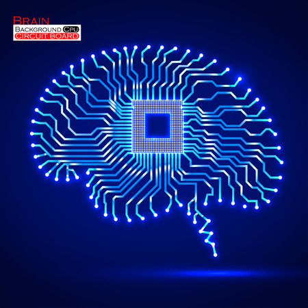 Neon brain. Cpu. Circuit board. Vector illustration.  Vector