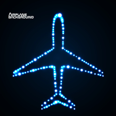 air liner: Glowing  airplane with neon. Vector illustration. Eps10 Illustration