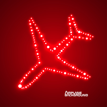 eps10: Glowing  airplane with neon. Vector illustration. Eps10 Illustration
