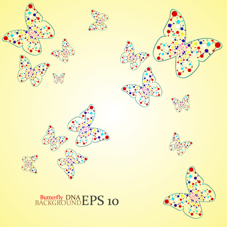 alternating organic: Molecule DNA along the contour butterflies. Abstract background. Vector illustration