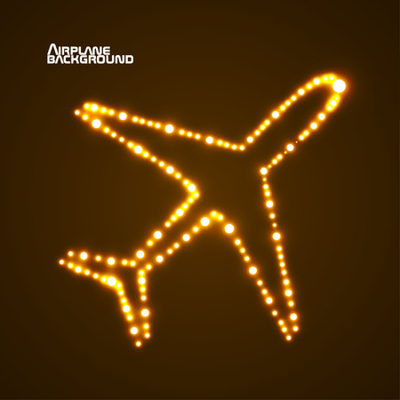 mirage: Glowing  airplane with neon. Vector illustration.