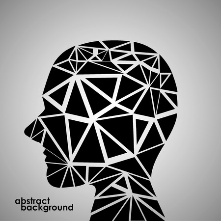 Human head from 3d geometric colorful triangles. Abstract background illustration