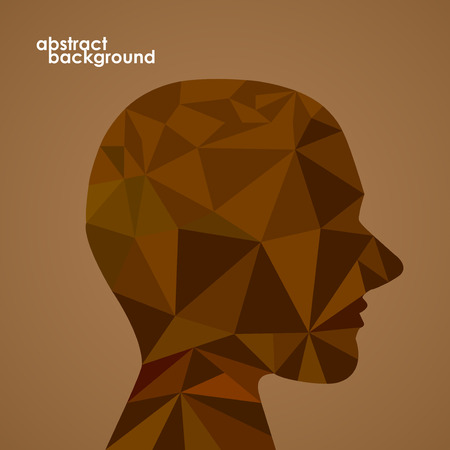 Human head from 3d geometric colorful triangles. Abstract background illustration. Vector