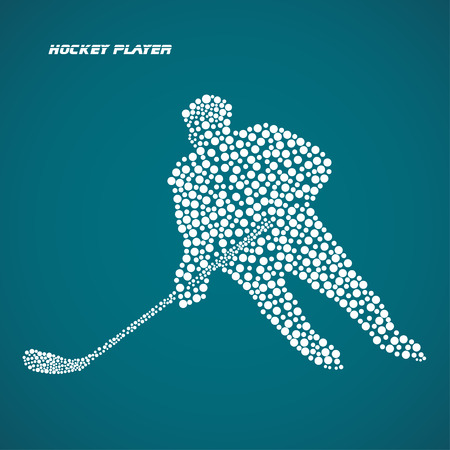 hockey stick: Abstract silhouette hockey player with hockey stick. Vector illustration.