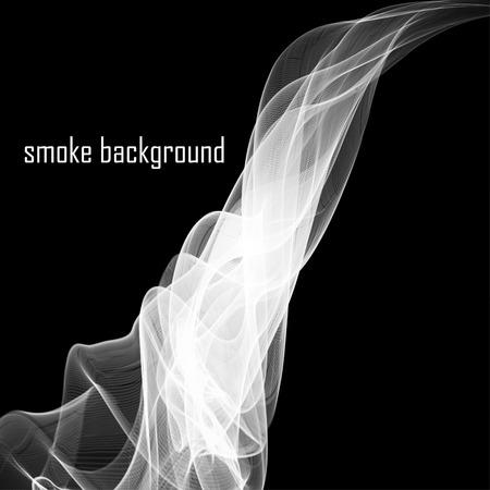 抽象的な煙が黒に分離されました。 ベクトルの図。Eps 10