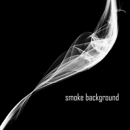 smell of burning: Abstract smoke isolated on black.  Vector illustration.