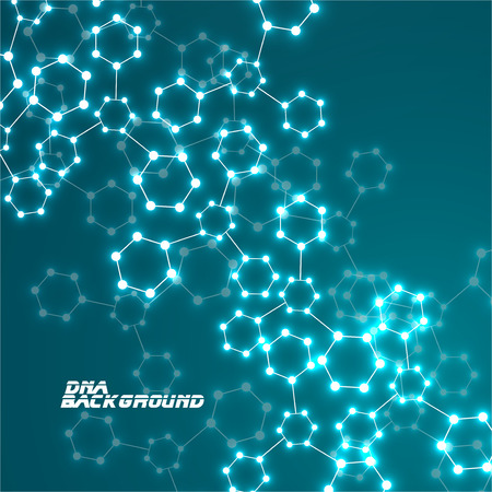 Molecule DNA glowing. Abstract background. Vector illustration.