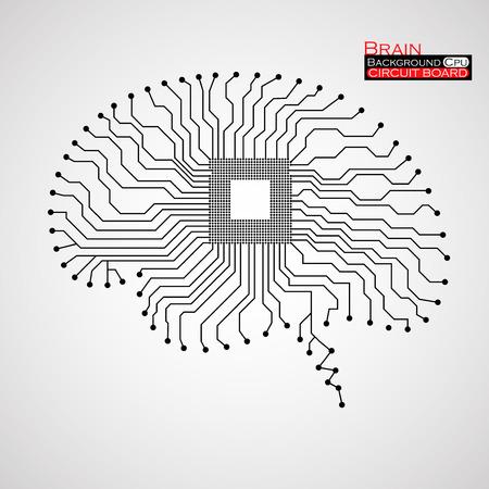 Brain. CPU. Plošný spoj. Vektorové ilustrace. Eps 10
