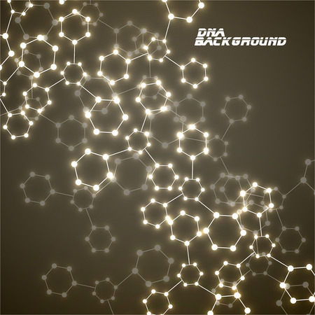 alternating organic: Molecule DNA glowing. Abstract background. Vector illustration.