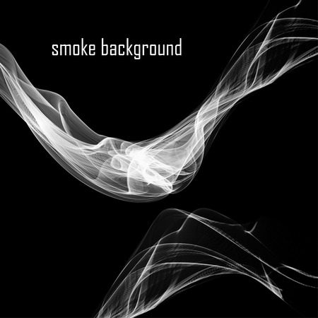cigar shape: Abstract smoke isolated on black.  Vector illustration.