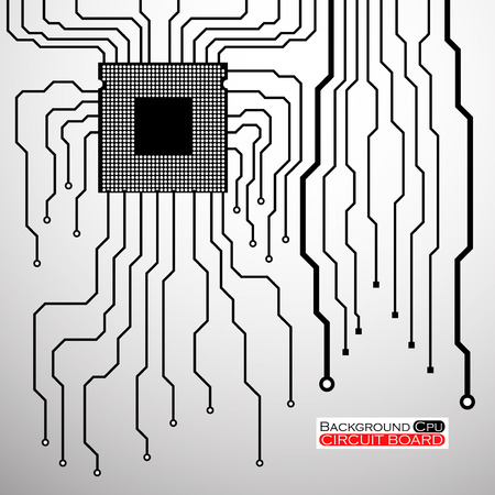 electronical: Circuit Board. CPU. Vector illustration.