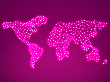 glowing earth: Abstract map of the earth with glowing. Vector illustration.