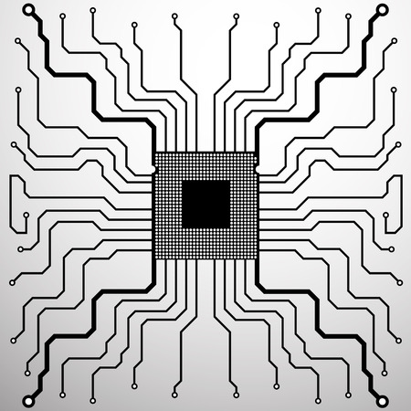 electronical: Cpu. Circuit Board. Vector illustration.