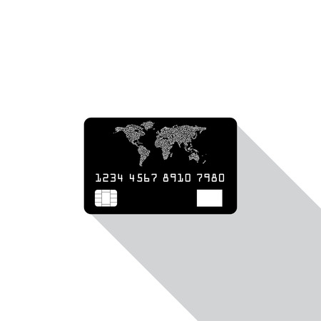 credit card icon: Credit card icon isolated on white background with shadow.