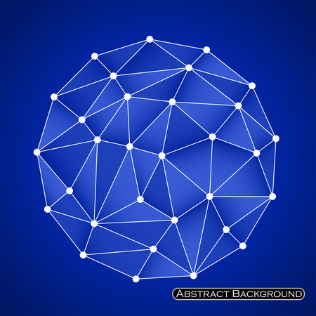 cyberspace: Colorful abstract polygonal sphere with triangles. Vector illustration.
