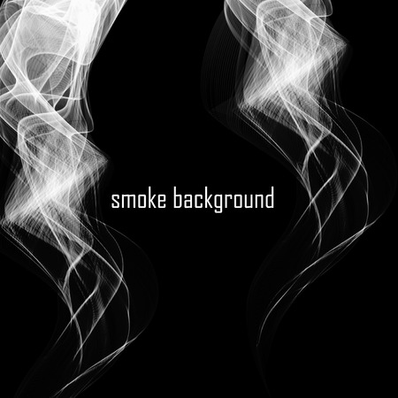 cigar shape: Abstract smoke isolated on black. Vector illustration. Illustration