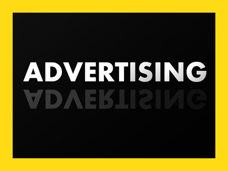 mirror reflection: The word ADVERTISING in mirror reflection on black background. Vector illustration.  Illustration