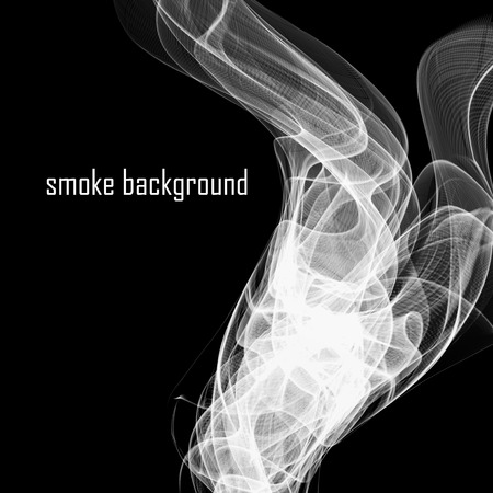 smell of burning: Abstract smoke isolated on black. Vector illustration. Illustration