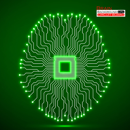 electronical: Neon brain. Cpu. Circuit board. Abstract technology background. Vector illustration.