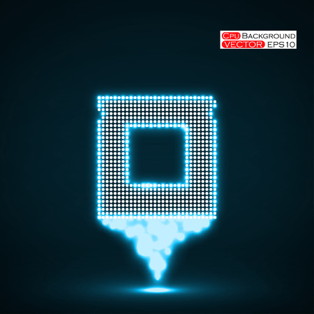 Neon Cpu. Microprocessor. Microchip. Isolated  technology background. Vector illustration.