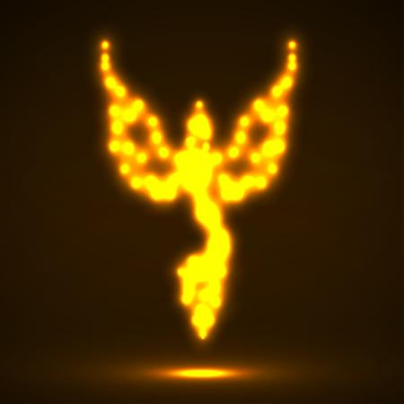 invincible: Abstract phoenix. Glowing fire bird. Vector illustration.