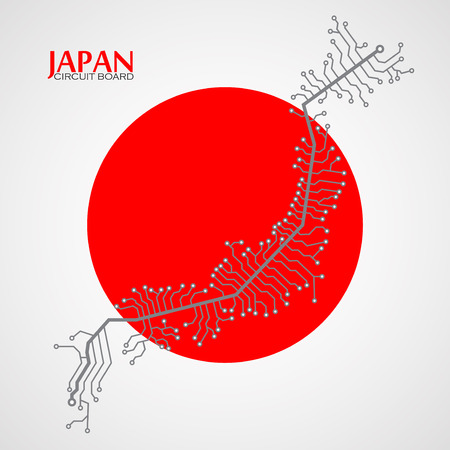 nagasaki: Map of Japan with electronic circuit. Technology background. Vector illustration.
