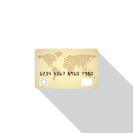 credit card icon: Credit card icon isolated on white background with shadow.  Illustration