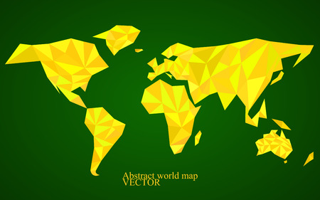 americas: Abstract world map background in polygonal style. Illustration