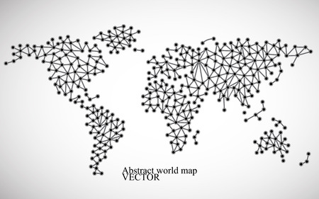 Abstract world map Molecule structure.